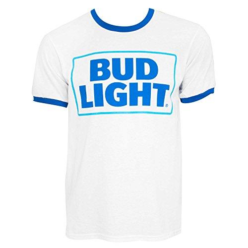 Bud Light Beer Logo Ringer Tee Shirt Large White