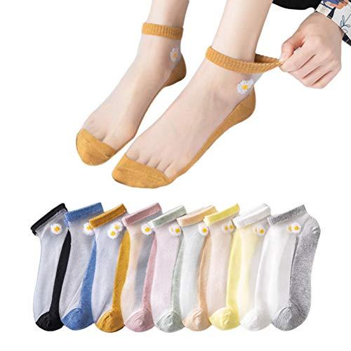 YINLANG Calcetines de Mujer, 10 Pares de Calcetines de Mujer para Verano Calcetines de Seda de Fibra de Vidrio Cass Transparentes ultrafinos Calcetines de Tobillo de Flores Transpirables
