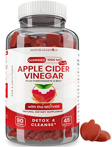 Vegan Apple Cider Vinegar Gummy Vitamins - 2X Strength for Kids, Adults - Option to Apple Cider Vinegar Capsules, Pills, Tablet - Detox, Cleanse, Weight Loss - ACV Gummies with Mother - 90, Non-Sticky