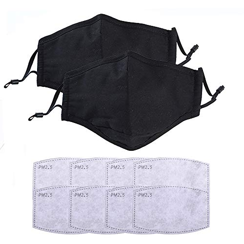 2Pcs Fashion Washable and Reusable Cotton Facial Covering - Includes 8Pcs Filters for Cycling Travel Outdoors