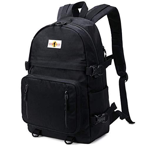 Rucksack Mädchen Teenager Jungen Schulrucksack mit USB Laptop Schulranzen Leichtgewicht Schultaschen für Damen Herren, Schwarz