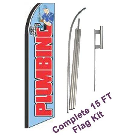 Complete Flag Kit Auto Electric NEOPlex Extra Wide Includes 12 Swooper Feather Business Flag With 15-foot Anodized Aluminum Flagpole AND Ground Spike