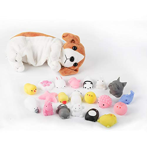 HAHAone Mini Mochi Squishies, 20 Pcs Squishy Toys,Free Kawaii Dog Carrying Bag.Mini Cute Animals Squeeze Funny Toy,Cat Panda Unicorn,Soft Stress and Anxiety Relief Toy for Kids/Adults