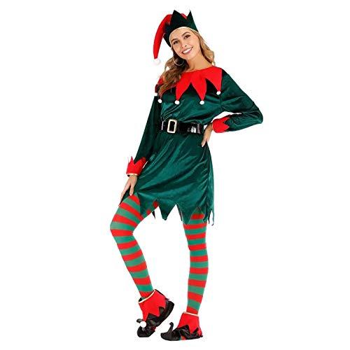 Disfraz De Elfo De Navidad Para Mujer, Disfraz De Ao Nuevo Para Mujer Disfraz De Elfo Disfraz De Navidad Para Dama Santa Claus Ayudante Cosplay A,XL