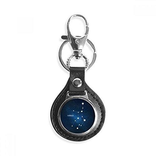 Virgo sterrenbeeld dierenriem teken lederen metalen sleutelhanger ring auto sleutelhanger cadeau