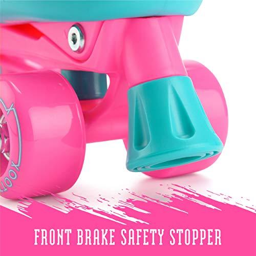 Xootz Kids Quad Skates, Beginner Adjustable Roller Skates Girls, Pink/Blue