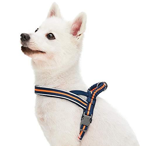Umi. Essential - Arnés Ajustable para Perros con Acolchado de Neopreno, Talla L, Azul Marino y Rayas Naranja