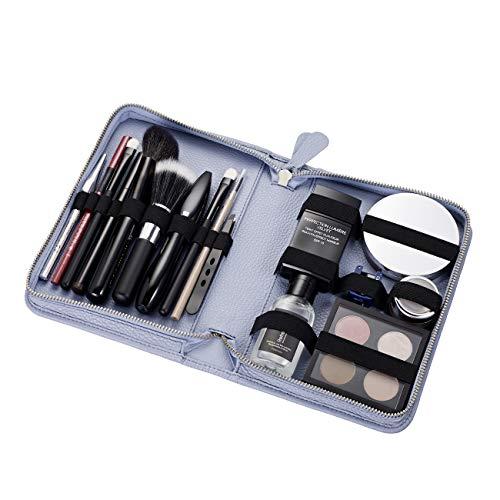 Pericosa Damen Kosmetiktasche KATE groß hellblau | Leder mit Fächern| für unterwegs für die Reise | Luxus Schminktasche für Make up | Kosmetiktäschchen Kosmetikbeutel in chic blau