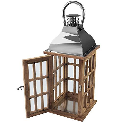Wohaga Holzlaterne mit Metalldach 40x17x17cm Gartenlaterne Holzlaterne Windlicht mit Henkel Holzgestell Echtglasscheiben Kerzenhalter Gartenbeleuchtung Dekoration