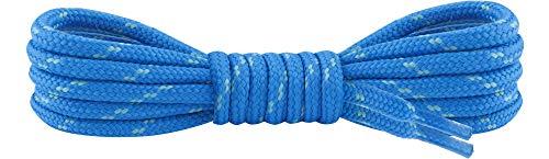 Ladeheid Qualitäts-Schnürsenkel LAKO1003, Elastische Rundsenkel für Arbeitsschuhe und Trekkingschuhe aus 100% Polyester, ø ca. 5 mm Breit, 25 Farben, 60-220 cm Länge (Blau/Minze, 150 cm/ø 5 mm)
