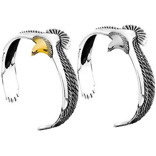 MTUPOC Bracciale Polsino con Aquila d'Argento, Polsino Regolabile con Polsino Aperto, Accessorio per Gioielli Unisex Moda retrò Punk Rock Bracciale Bracciale per Uomo Donna (Golden+Silver)