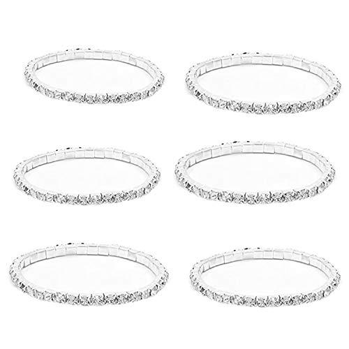JinYu 6 Pcs Rhinestone 1 Rows Crystals Inlaid Paved Jewelry Stretch Elastic Bracelets Sparkle Multicolor Rhinestone Stackable Stretch Bracelets for Women