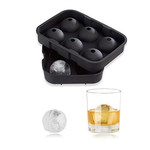 Relaxdays Eiskugelform Silikon, für 4,5 cm Eiskugeln, 2-teilig, Portionierer mit Deckel, HxBxT: 5 x 18 x 13 cm, schwarz