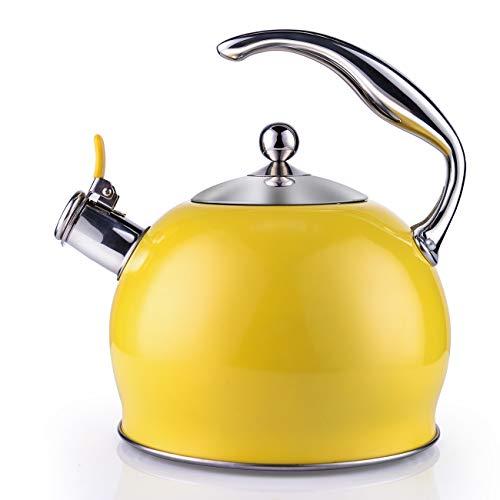 SOTYA Pfeifkessel aus Edelstahl, Teekessel für Herd, Edelstahl Wasserkessel/Teekanne, 1 gratis Silikon-Handschuh im Lieferumfang enthalten, 3L (Gelb)