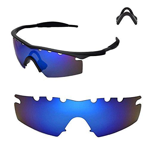 Walleva Entlüftete Ersatzlinsen oder Linsen mit schwarzem Nasenpolster für Oakley M Frame Strike Sonnenbrille - 20 Optionen (Eisblau - Polarisiert + Nasenpolster)