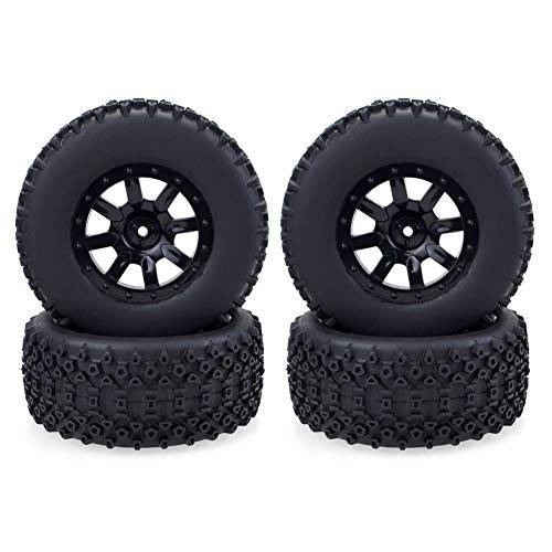 RC Truck Car Reifen, 1:10 Rad Felgen Gummi Rennreifen Reifen, langlebige verschleißfeste Reifen Felgen Nabe...