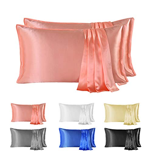 Since Silk Fundas de Almohada de Seda 100% Morera Natural 22 Momme, Suaves y Cuidado de la Cabello Funda de Almohada de Seda 2 Piezas Pink (50 * 90cm)
