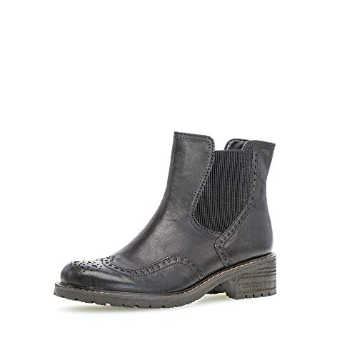 Gabor Damen Stiefeletten, Frauen Chelsea Boots,Comfort-Mehrweite,Reißverschluss, uebergangsschuhe uebergangsstiefel,schwarz (Mel.),39 EU / 6 UK