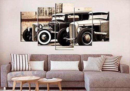 ELSFK Creative Gift 5 piece Canvas wall art canvas Prints Hot Rod Large Vintage Cars Modern Home Living Room Decoration Bedroom Decor Framed HD Print Poster