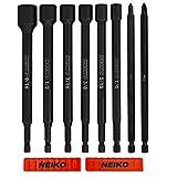 NEIKO 10067A Juego de destornilladores para tuercas de impacto magnético y brocas eléctricas |  6 Piezas SAE |  6 pulgadas |  Instaladores de puntas de destornillador para tuercas de vástago |  Zócalos de punta magnética |  Vástago hexagonal de 1/4 de pulgada