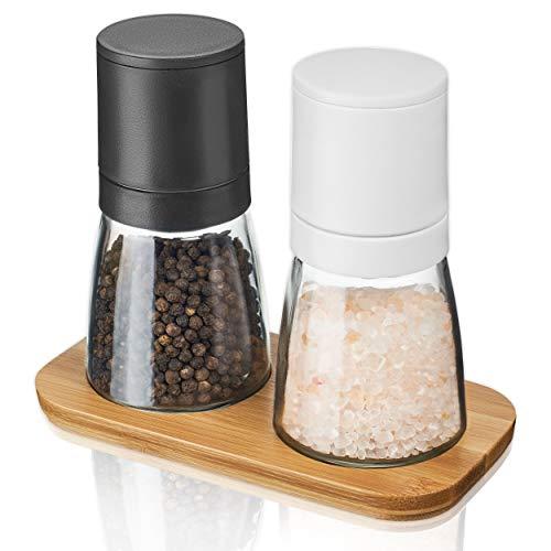MUCOBI® [3er Set] Salz und Pfeffer Mühle mit edlem Holzständer - stufenloses Keramikmahlwerk - Perfekt für Arbeitsfläche und Esstisch - Gewürzmühle