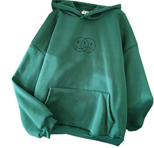 LaiYuTing Streetwear Sweatshirt Herren Damen lässig Pullover Hip-Hop langärmelig lächeln traurig Gesicht Muster Sport Top