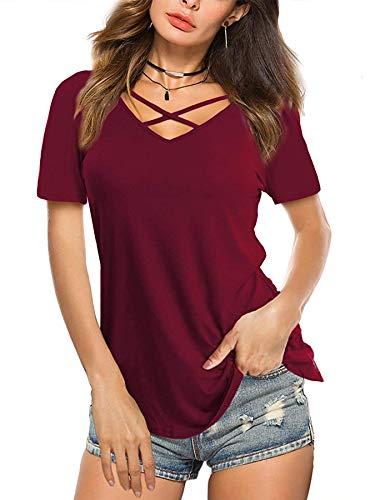 Beluring T-Shirt Für Damen Sommer Schnürung Vorne Kurzarmshirt Einfarbig Oberteile Tees Weinrot L