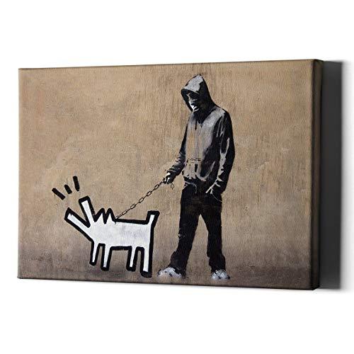 Banksy Hond Kraag Bandana Jongen Canvas Art Wall Print - Kamer Decor Gift Schilderen Puppy Lover - Grote Man Bruin Modern Cool Grappig Artwork