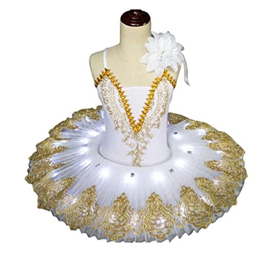 SHADIOA Ballet Profesional Tutu Led Swan Lake Girl Ballet Ropa de Baile Tutu Falda Mujer Bailarina Vestido para Fiesta de Baile de Fiesta,Blanco,120CM