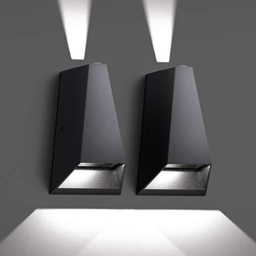 Chesbung Apliques Pared LED 2PCS. 12W Aplique Pared Interior de Aluminio, IP54 Impermeable Interior y De Exterior Sala de Estar Dormitorio Pasillo Patio