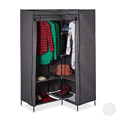 Relaxdays Hoekkleerkast, 8 planken, 2 kledingstangen, steeksysteem, 2 deuren, 169x100x83 cm, stoffen kast, antraciet, 1 stuk