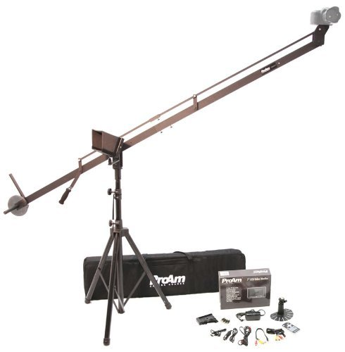 ProAm USA DVC210 DSLR Video Camera Jib Crane Tilt Kit, 8 ft Including Stand, Carrying Bag, LCD Monitor and Sunshade