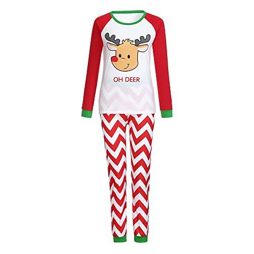 YUYOUG 2PCS Famille Matching Noël Pyjama Set, Homme Femme Bébé Cerf Striped Chemisier + Pantalons, Automne Hiver fête de Noël (S, mébé)