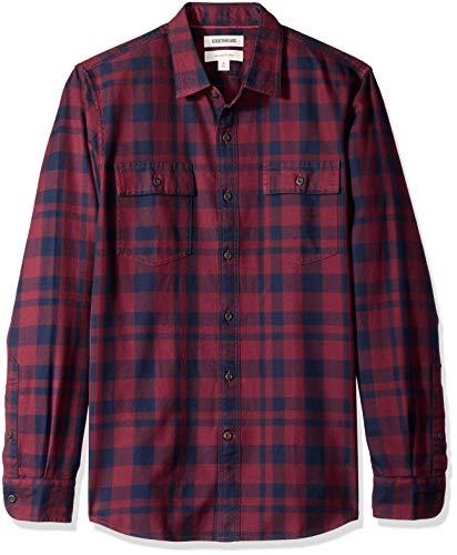 Amazon Brand - Goodthreads Men's Slim-Fit Long-Sleeve Plaid Twill Shirt, Burgundy, Large