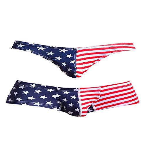 Tubayia 2 Stück Herren USA Flaggen Unterwäsche G-String Tanga Boxershorts Unterhose für Männer