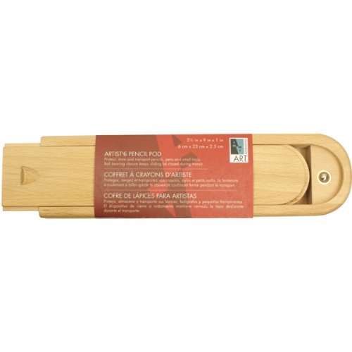 Art Alternatives Wood Box Pencil Pod,Brown