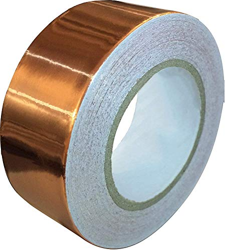 Copper Tape Conductive Adhesive [2.54cm x 10.97m] Copper Foil Tape for Guitar and EMI Shielding Barrier, Soldering, Jewelry, Circuits, PCB Pad Repair, Electronics - Stained Glass Metal Tape