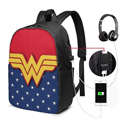 Lawenp Mochila para computadora portátil Wonder Woman, con Puerto de Carga USB/Mochilas Impermeables Informales Elegantes Que se adaptan a la mayoría de computadoras portátiles y tabletas de 17/15