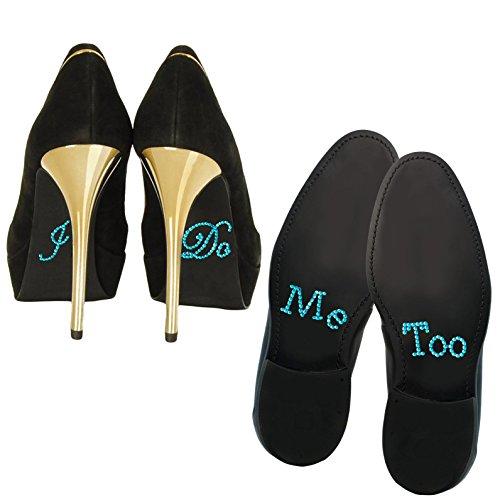 Oblique-Unique® Schuhsticker Set Strass - I Do & Me Too - Brautpaar Hochzeit Verlobung (Türkis)