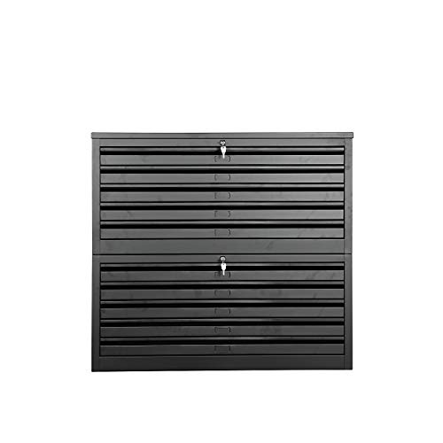 Certeo Flachablageschrank für DIN A1 | HxBxT 105 x 113 x 83 cm | Schwarz | Planschrank Grafikschrank Architektenschrank Zeichnungsschrank