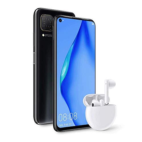 """HUAWEI P40 Lite - Smartphone con Pantalla de 6.4"""" FullView (Kirin 810, 6GB de RAM,128GB de ROM, 48MP, Cuádruple cámara, Carga Rápida de 40W, Batería de 4200mAh) Negro + Auriculares Freebuds 3 Blancos"""