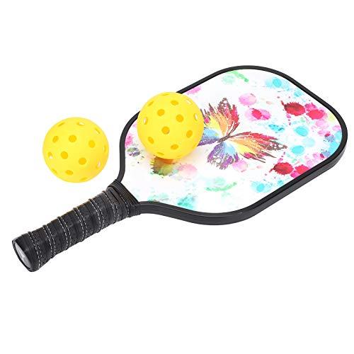 2PCS Pickleball Paddles Set Pickle Ball Racket Raqueta de Fibra de Carbono con 2 Bolas Diversión al Aire Libre e Interior para niños