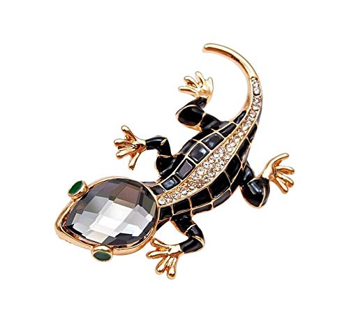Broche de estilo lagarto en acero dorado y negro.
