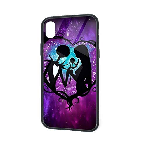 Tempered Glass iPhone XR Case, Mother of Nightmares Jack and Sally Love Moon Drawing Design Anti-Slippery Impact Resist Full Protection Soft TPU Bumper Cover Phone Case for iPhone XR 6.1 Inch (2018)