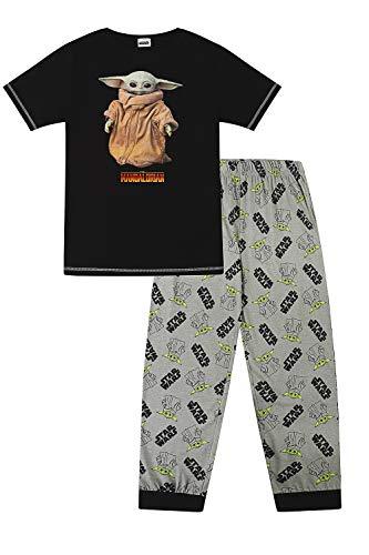 Star Wars Disney Herren Schlafanzug The Mandalorian The Child Portrait Lang Baumwolle...