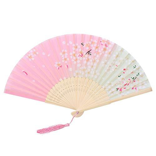 KEYREN Pliant Ventilateur À Main Rose Fleur Gland Pliant Ventilateur en Bambou Ventilateur De Poche Décor Cadeau(01)
