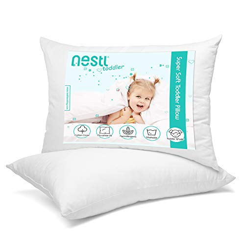 Nestl Toddler Pillow – Pack of 2 Baby Pillows for Sleeping – Organic Cotton Kids Pillow – Soft Cool Travel Kids Pillow – 13 x 18 Inches