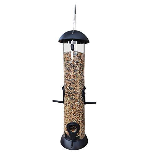 MEYANG Comedero para Pájaros, Comederos para Aves De Comida De Grano, Comedero para Pájaros con Anillos De Fijación, Estatuto De Pájaros Silvestres para Colgar (34x14cm, Negro)