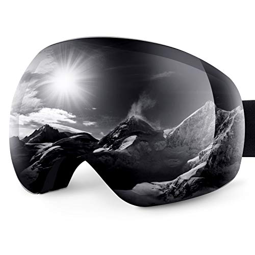 Karvipark Skibrille, Ski Snowboard Brille Brillenträger Schibrille Verspiegelt, Doppel-Objektiv OTG UV-Schutz Anti Fog Snowboardbrille Damen Herren Kinder für Skifahren Snowboard (Grau VLT24%)