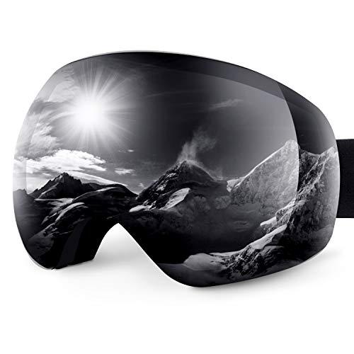 Karvipark Skibrille, Ski Snowboard Brille Brillenträger Schibrille Verspiegelt, Doppel-Objektiv OTG UV-Schutz Anti Fog Snowboardbrille Damen Herren Kinder für Skifahren Snowboard (Grau VLT24{15485c2089d05fe699906e6550cd8a41c79c406ac0bc9700a5ec473cf5a8acce})